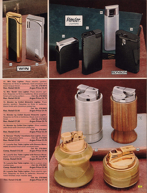 Argos 1976 Catalogue Lighters