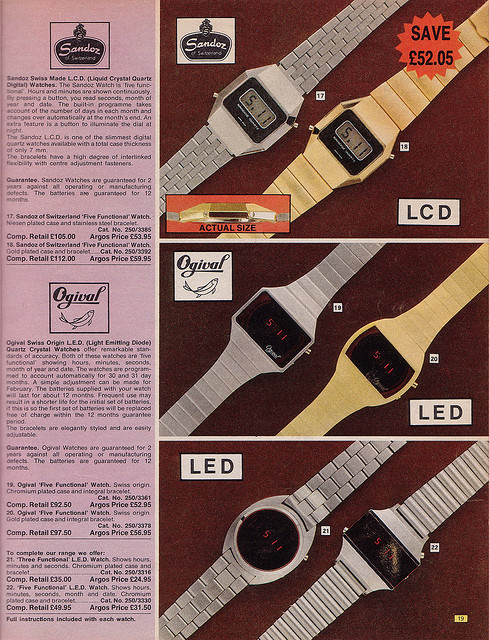 Argos 1976 Catalogue Watches