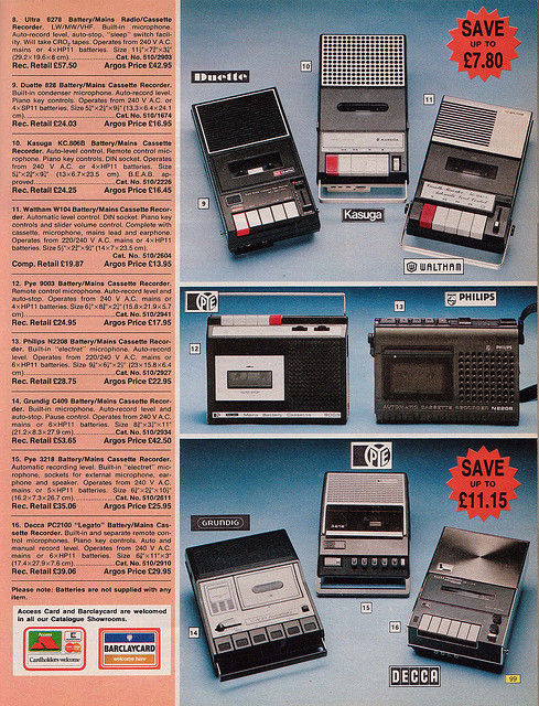 Argos Catalogue Cassette Players 1976