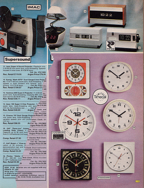 Argos Catalogue Clocks 1976