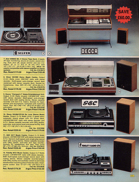 Argos Catalogue Record Players 1976