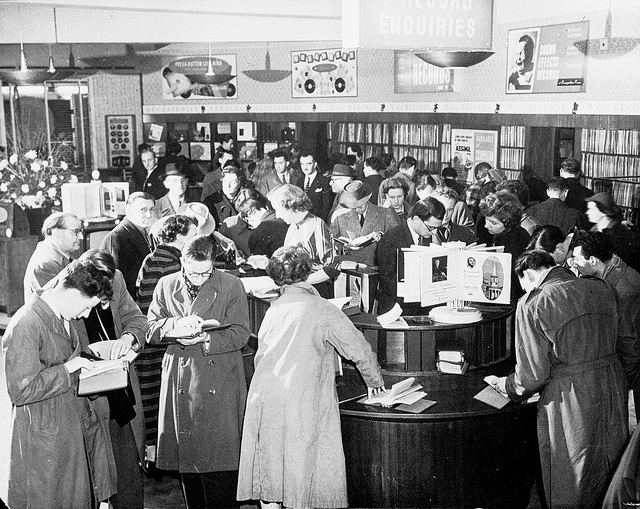 Inside HMV Record Store in 1940s