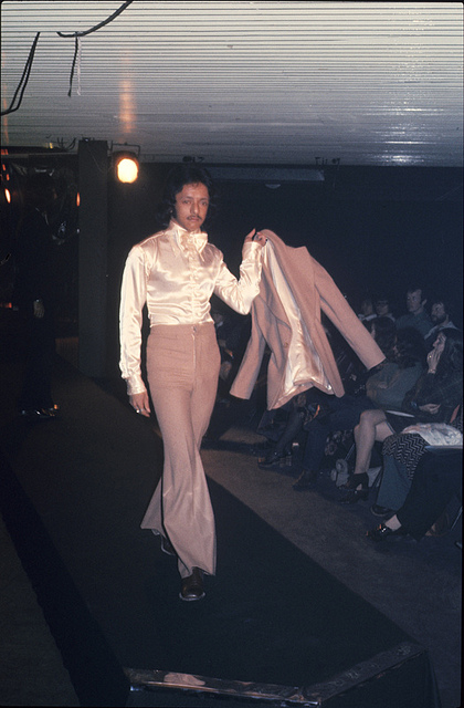 1970s Manchester Fashion Student on catwalk