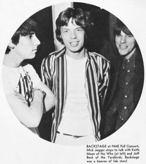 Keith Moon Mick Jagger and Jeff Beck