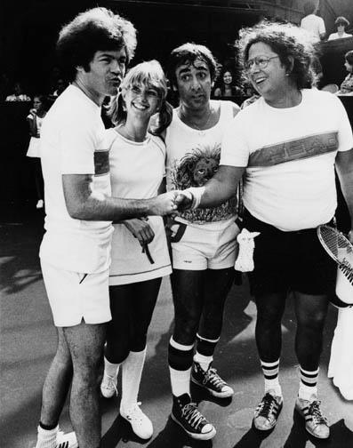 Keith Moon, Mickey Dolenz, Olivia Newton John and Mark Volman from The Turtles