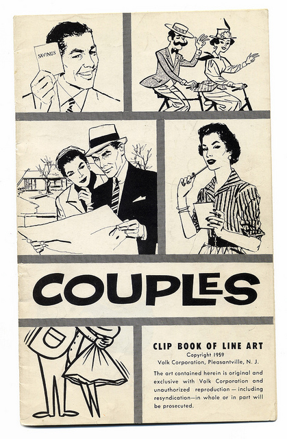 1960s couples clip art