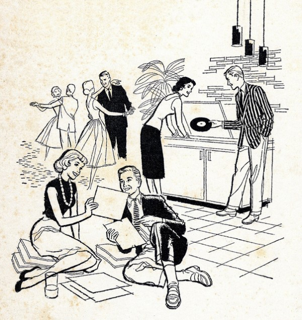 record party 1960s clip art