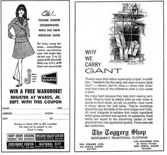 San Diego 60s High School Ads