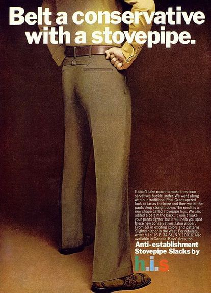 H.I.S 1970s Stovepipe Slacks Advert