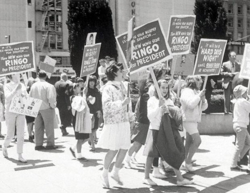 Large Young Crowd Carrying Signs