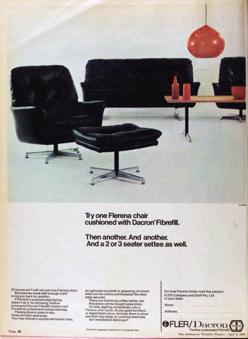 Australian women's Weekly 1960s furniture