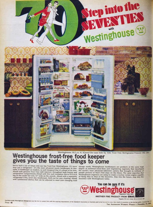 Australian women's Weekly Swinging sixties fridge ad