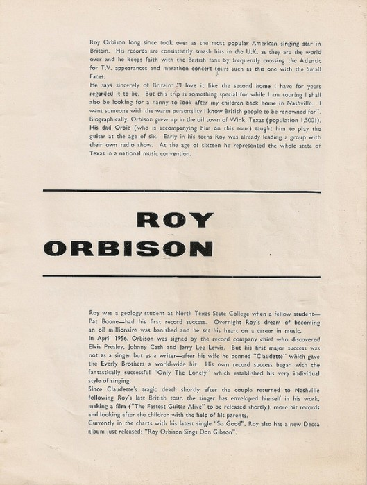 Roy Orbison Tour